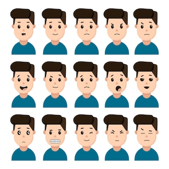 남성 표현 감정의 얼굴은 흰색 바탕에 아이콘의 집합입니다. 분노, 행복, 놀라움, 진지함 등의 얼굴