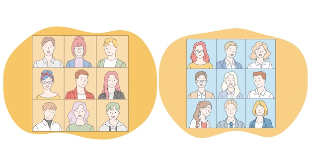 ポジティブな十代の若者たちと若い女性と男性の漫画のキャラクターの顔がショットに笑っている