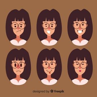 さまざまな感情を持つ女性の顔