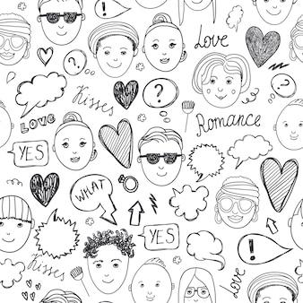 シームレスなパターンに直面しています。感情、落書き、フリーハンド描画の背景。黒と白。人、男性と女性のスケッチ、人間関係のコミュニケーション Premiumベクター
