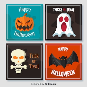 Faces of spooky halloween creatures flat cards