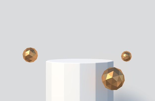 Faceted podium for product presentation podium stage with golden faceted spheres