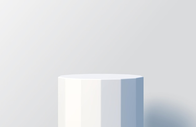 Faceted white podium for product presentation minimal scene with podium stage