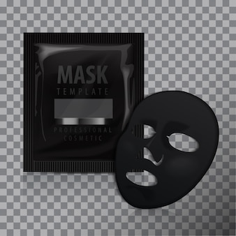 Facial black mask. cosmetics pack. vector package design for face mask