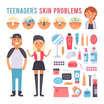 Facial care teenager people defects skin problems