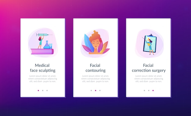 Facial contouring app interface template.