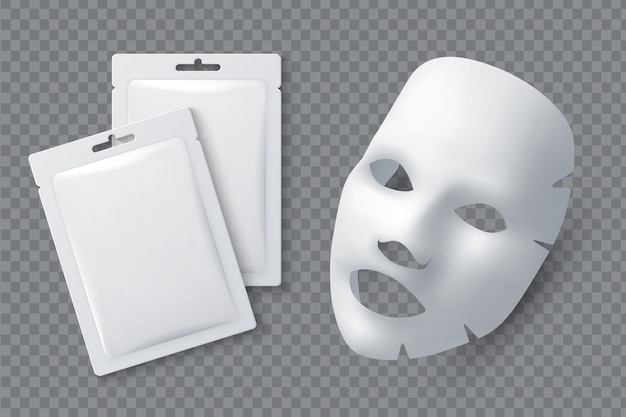 フェイシャルコスメティックマスク。女性の美しさのための綿のシーツ。白い顔のクレンジングマスクとパッケージのリアルな3d。顔の皮膚の女性のイラストのための化粧マスク