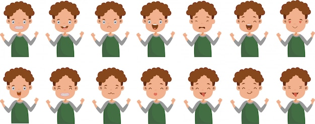 Facial expression of girl facial emotions set.