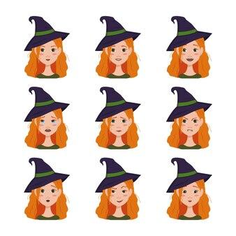 Выражение лица женщины с рыжими волосами в остроконечной шляпе ведьмы разные женские эмоции