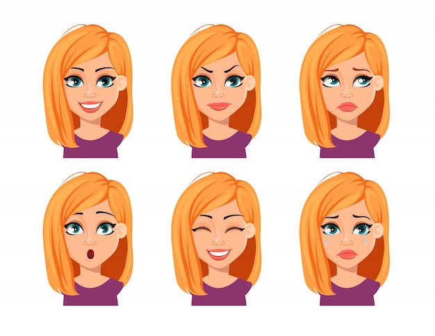 Facial expressions of woman with blonde hair