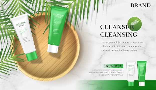 Facial foam ads. cleansing lotion on plate with coconut