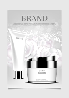 Facial foam and cream on white flowers background