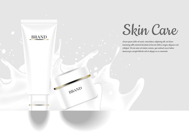 Facial foam and nourishing cream with splashing milk