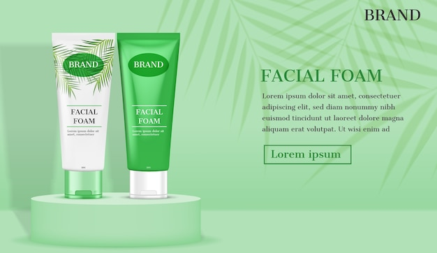 Facial foam on stand with green leaves background