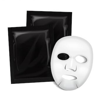 얼굴 마스크. 검은 화장품 패키지. 흰색 배경에 얼굴 마스크 패키지