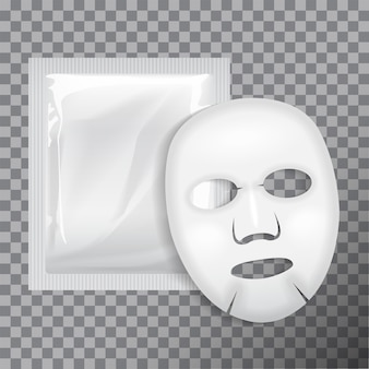 Facial mask cosmetics package .  package  for face mask on transparent background