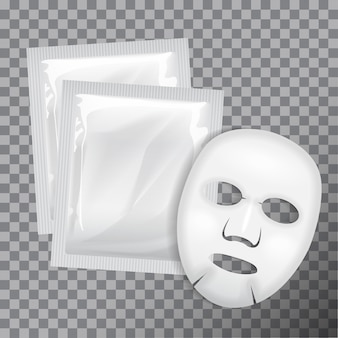 Facial mask. cosmetics package.  package  for face mask on transparent background