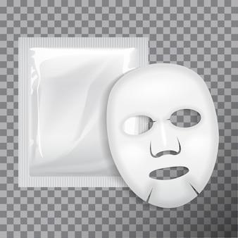 얼굴 마스크. 화장품 패키지. 투명 배경의 얼굴 마스크 패키지
