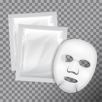 フェイシャルマスク。化粧品パッケージ。透明な背景にフェイスマスクのパッケージ