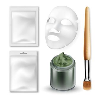 Facial mask and makeup brush cosmetics set