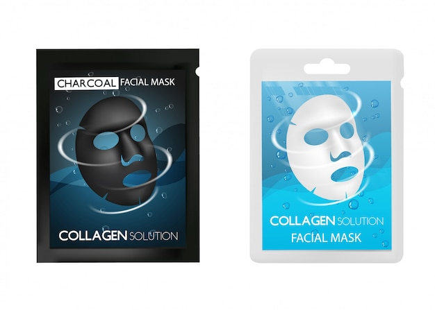 Facial mask package realistic set