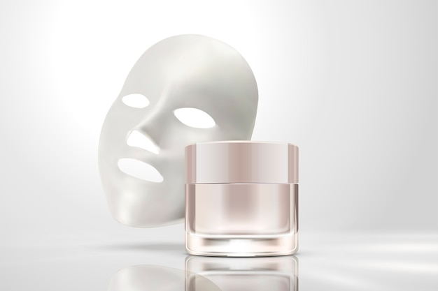 Facial mask with cream jar isolated on pearl white background