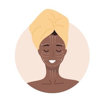 フェイシャルマッサージ。リンパマッサージスキームとアフリカの女性の肖像画。