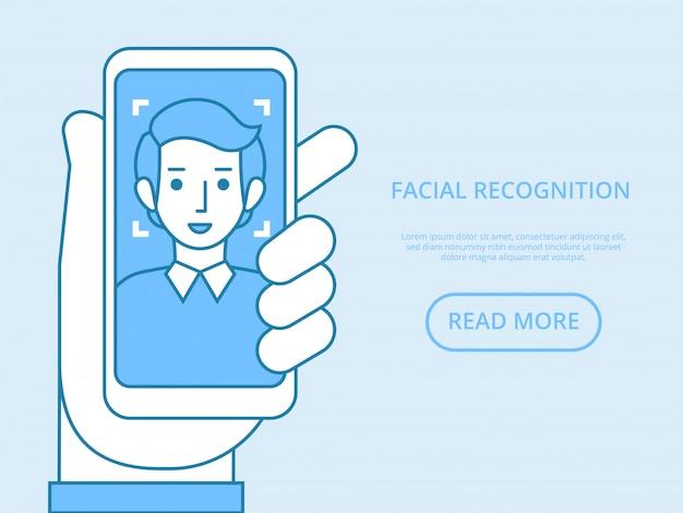 顔認識の概念。顔id、顔認識システム。人間の頭を持つスマートフォンと画面上のアプリをスキャンする手。最新のアプリケーション。グラフィック要素。図