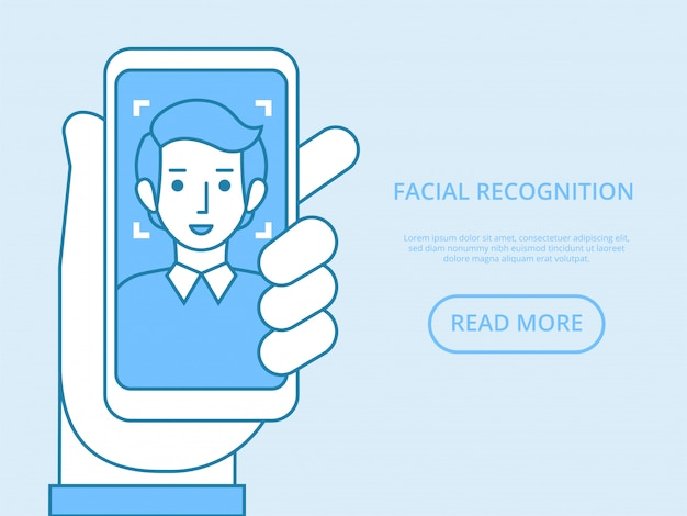 Facial recognition concept. face id, face recognition system. hand holding smartphone with human head and scanning app on screen. modern application.   graphic elements.  illustration