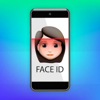 顔認識の概念。顔id、顔認識システム。人間の頭と画面上のスキャンアプリを備えたスマートフォン。最新のアプリケーション。図。