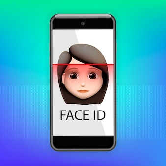 Facial recognition concept. face id, face recognition system. smartphone with human head and scanning app on screen. modern application. illustration.