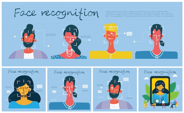 Facial recognition concept. face id, face recognition system with intellectual learning system.