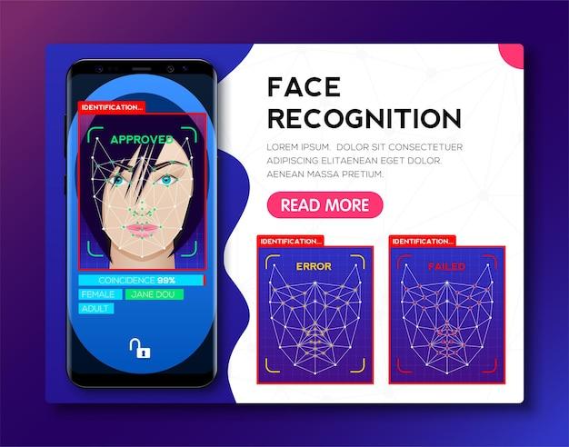 얼굴 id를 사용하는 스마트폰과 얼굴 인식 시스템 개념.