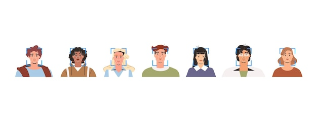 얼굴 인식 기술, 사람의 확인 및 생체 인식. 스캔, 얼굴 id 시스템 또는 인공 지능의 개념. 평평한 스타일의 다양한 젊은이들의 초상화.