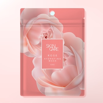 Facial sheet mask or clay mask foul bag or sachet bag packaging. rose pattern printed on coral background.