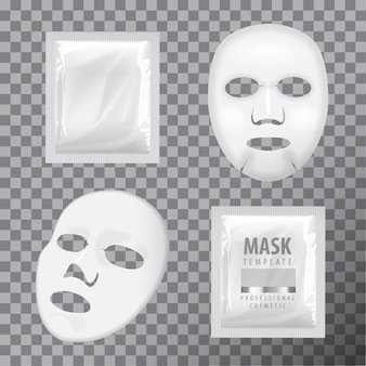 Facial sheet mask and sachet. blank vector mock up template.