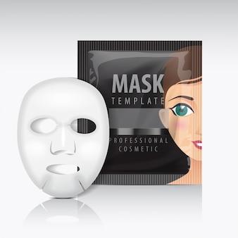 향 주머니가있는 페이셜 시트 마스크. 검은 템플릿. 당신의 미용 제품 패키지