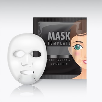 Facial sheet mask with sachet. black   template. beauty product package for your