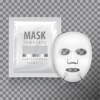 Facial sheet mask with sachet. blank   template. beauty product package