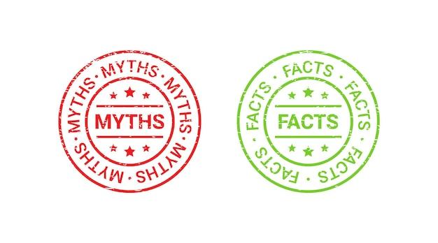 Fact myth grunge round stamps. vector illustration.