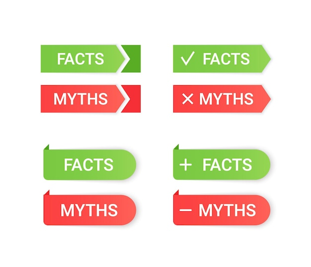 Fact myth grunge rubber stamps. vector illustration.