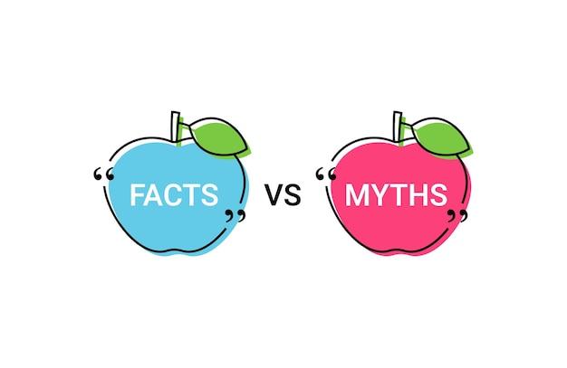 Факт vs миф в пузырях речи. векторная иллюстрация.