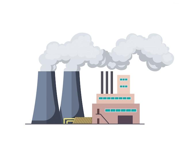 Factori или электростанция плоский дизайн иллюстрации. мануфактура промышленного здания, нефтеперерабатывающий завод или аэс. строительство большого завода или фабрики с трубным дымом