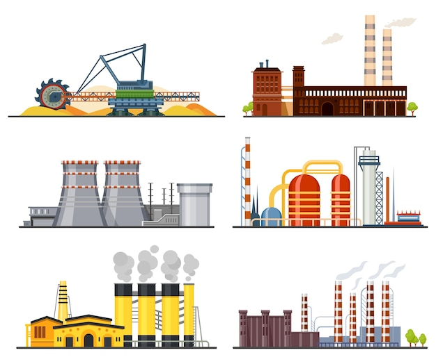 Factories and industrial plants heavy industry manufacture buildings.