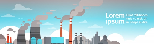 Factories producing pollution banner template