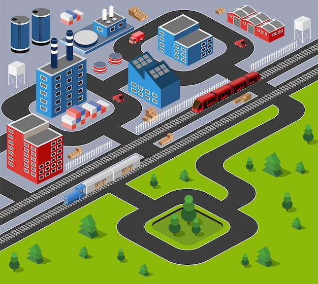 Factories, warehouses and office buildings in urban areas of large cities