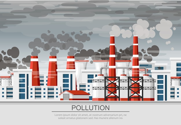 Заводы с дымовыми трубами. проблема загрязнения окружающей среды. земляной завод загрязняют углеродным газом. иллюстрация. иллюстрация с серым фоном грязного неба.