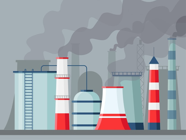 Factory air pollution. environmental contamination carbon dioxide emissions. toxic factories and plants with fumes or smog. polluting chimneys