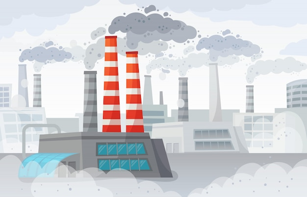 Factory air pollution. polluted environment, industrial smog and industry smoke clouds  illustration