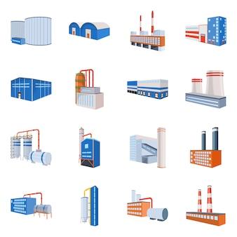 工場と業界のアイコン。コレクション工場と工業用ストックシンボル。
